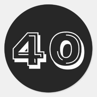 Zwarte 40ste Verjaardag Ronde Sticker