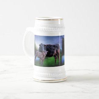 Zwarte Angus Cow en Kalf Bierpul