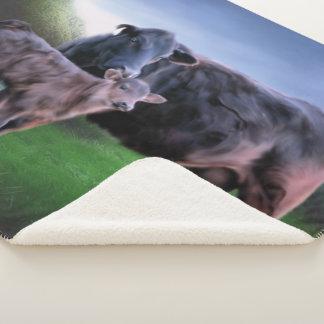 Zwarte Angus Cow en Kalf Sherpa Deken