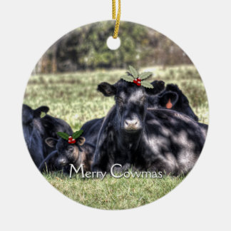 Zwarte Angus Cows Christmas Ornaments Rond Keramisch Ornament