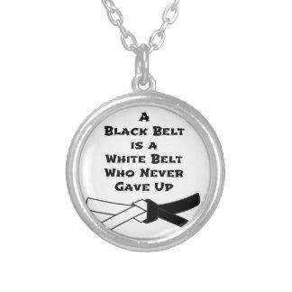 Zwarte band zilver vergulden ketting