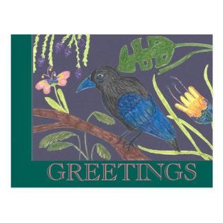 Zwarte & Blauwe Paradijsvogel Briefkaart