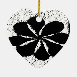 zwarte bloem keramisch hart ornament