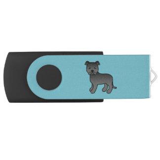 Zwarte Cartoon Staffordshire Bull terrier USB Stick