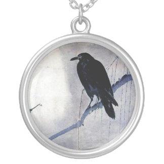 zwarte de natuurzonsopgang van de raaf wilde vogel zilver vergulden ketting