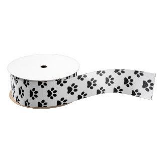 Zwarte DIY op Witte Kat/Hond/Dierlijke Voetafdruk Grosgrain Lint