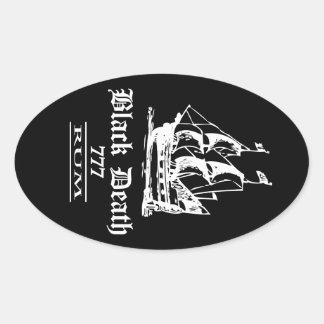 Zwarte Dood 777 - de Rum van Schepen Ol Ovale Sticker
