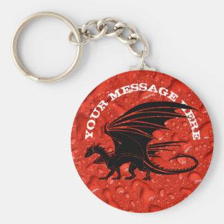 Zwarte draak op rode achtergrond sleutelhanger