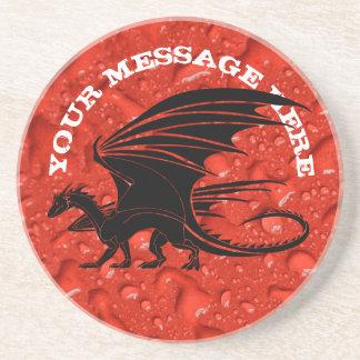 Zwarte draak op rode achtergrond zandsteen onderzetter