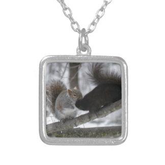 Zwarte Eekhoorn Zilver Vergulden Ketting