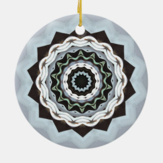Zwarte en Blauwe Mandala Rond Keramisch Ornament