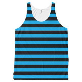 Zwarte en Blauwe Strepen All-Over-Print Tank Top