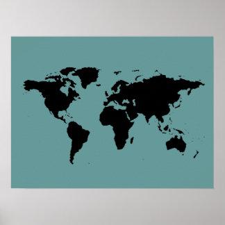 zwarte en blauwe wereldkaart poster