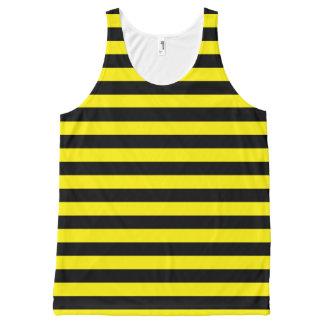 Zwarte en Gele Strepen All-Over-Print Tank Top