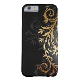 Zwarte en Gouden BloemenWijnstok Barely There iPhone 6 Hoesje