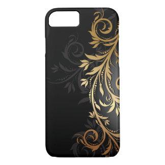 Zwarte en Gouden BloemenWijnstok iPhone 7 Hoesje