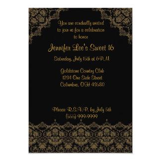 Zwarte en Gouden Elegante Sweet16- Uitnodiging