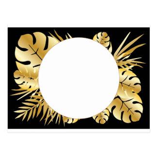 Zwarte en gouden elegante tropische briefkaart