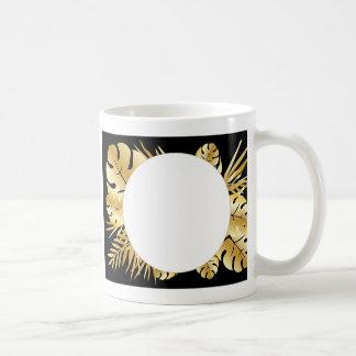 Zwarte en gouden elegante tropische koffiemok