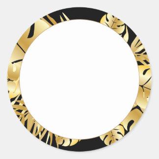 Zwarte en gouden elegante tropische ronde sticker