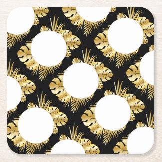 Zwarte en gouden elegante tropische vierkanten viltjes