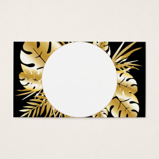 Zwarte en gouden elegante tropische visitekaartjes