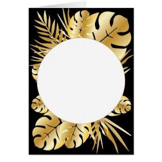 Zwarte en gouden elegante tropische wenskaart