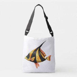 Zwarte en gouden tropische hoekvissen crossbody tas
