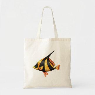 Zwarte en gouden tropische hoekvissen draagtas