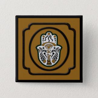 Zwarte en Gouden Vierkante Knoop Hamsa Vierkante Button 5,1 Cm