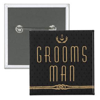 Zwarte en Gouden ZeevaartGroomsman van de Knopen Vierkante Button 5,1 Cm