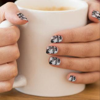 Zwarte en Grijze Trendy Camouflage Camo Minx Nail Art