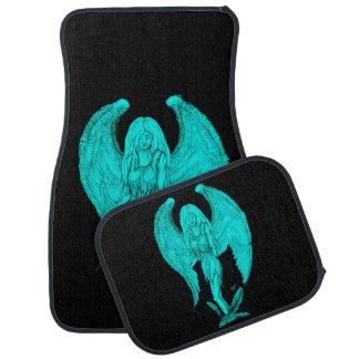 Zwarte en Groene ontwerp het van de engel, Auto Vloermat