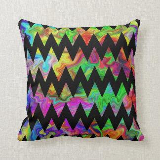 Zwarte en Heldere Multicolored Zigzag Sierkussen