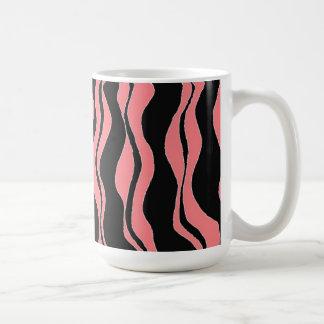 Zwarte en Roze Gestreepte Strepen Koffiemok