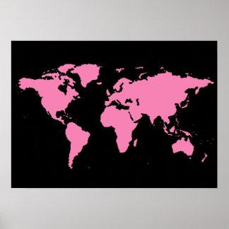 zwarte en roze wereldkaart voor vrouwen poster