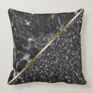Zwarte Faux schittert & Zwarte Marmeren Combo Kussen