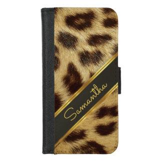 Zwarte Goud van het Monogram van het Bont van Faux iPhone 8/7 Portemonnee Hoesje