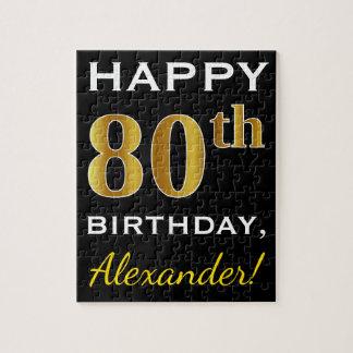Zwarte, Gouden 80ste Verjaardag Faux + De Naam van Legpuzzel