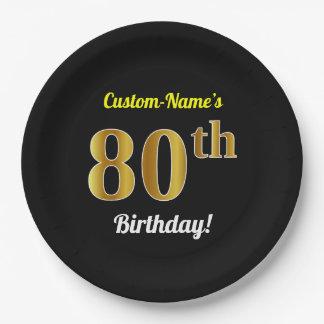 Zwarte, Gouden 80ste Verjaardag Faux + De Naam van Papieren Bordje
