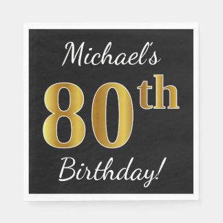 Zwarte, Gouden 80ste Verjaardag Faux + De Naam van Wegwerp Servet
