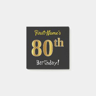 Zwarte, Gouden 80ste Verjaardag Faux, met de Naam Post-it® Notes