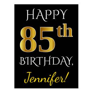 Zwarte, Gouden 85ste Verjaardag Faux + De Naam van Briefkaart