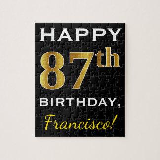 Zwarte, Gouden 87ste Verjaardag Faux + De Naam van Legpuzzel