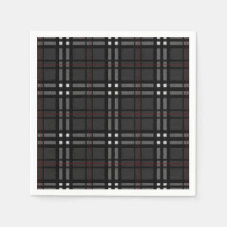 zwarte grijze witte en rode plaid papieren servet