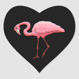 Zwarte Hart van de Flamingo van de Hart Sticker