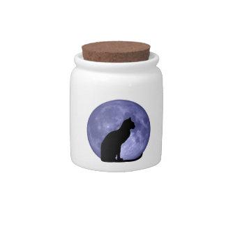 Zwarte het snoepkruik van de Maan van de Kat Blauw Porseleinen Snoeppot