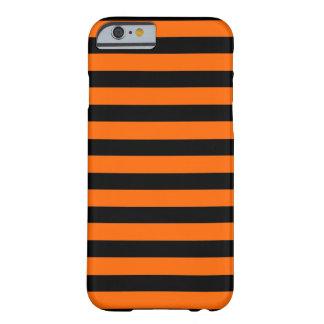 Zwarte horizontale iPhone 6 van de Oranje Streep Barely There iPhone 6 Hoesje