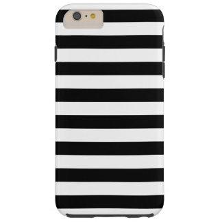 Zwarte Horizontale Strepen Tough iPhone 6 Plus Hoesje