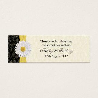 Zwarte, Ivoor, Gouden Daisy Wedding Favor Tags Mini Visitekaartjes